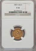 Liberty Quarter Eagles: , 1857-S $2 1/2 Fine 15 NGC. NGC Census: (3/161). PCGS Population(0/109). Mintage: 69,200. Numismedia Wsl. Price for problem...