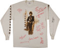 Music Memorabilia:Autographs and Signed Items, Bob Dylan and Others Signed Shirt....