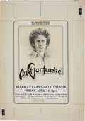 Music Memorabilia:Original Art, Art Garfunkel Berkeley Concert Poster Original Art by Randy Tuten(1978)....