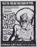 Music Memorabilia:Posters, Sick of It All/Korn Urban Art Bar Concert Poster Original Art(1995)....