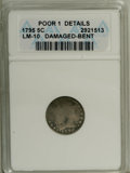 Early Half Dimes: , 1795 H10C --Bent, Damaged--ANACS. Poor 1 Details. LM-10. NGCCensus: (0/384). PCGS Population (0/460). Mintage: 78,600. Numi...