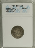 Early Dimes: , 1798/97 10C 16 Stars on Reverse--Corroded--ANACS. VG8 Details.JR-1. NGC Census: (0/42). PCGS Population (1/51). Mintage: 2...