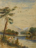 Fine Art - Painting, American:Antique  (Pre 1900), Attributed to THOMAS WORTHINGTON WHITTREDGE (American, 1820-1910). River Landscape. Watercolor on paper. 12-3/4in. x 9-3... (Total: 1 Item)