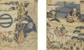 Asian:Japanese, JAPANESE (Nineteenth Century). Pair of color woodblock prints,matted together. 8-1/2in. x 6-1/2in.. ... (Total: 2 Items)