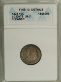 Bust Dimes: , 1828 10C Large Date--Cleaned--ANACS. Fine 12 Details. JR-2. NGCCensus: (0/23). PCGS Population (0/16). Mintage: 125,000. N...