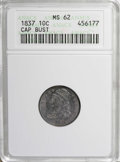 Bust Dimes: , 1837 10C MS62 ANACS. NGC Census: (16/52). PCGS Population (11/30).Mintage: 359,500. Numismedia Wsl. Price: $650. (#4529)...