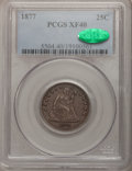 Seated Quarters: , 1877 25C XF40 PCGS. CAC. PCGS Population (6/332). NGC Census:(1/322). Mintage: 10,911,710. Numismedia Wsl. Price for probl...