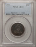 Seated Quarters: , 1882 25C VF30 PCGS. PCGS Population (1/99). NGC Census: (0/62).Mintage: 15,200. Numismedia Wsl. Price for problem free NGC...