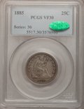 Seated Quarters: , 1885 25C VF30 PCGS. CAC. PCGS Population (3/112). NGC Census:(2/78). Mintage: 13,600. Numismedia Wsl. Price for problem fr...