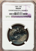 Proof Seated Half Dollars: , 1860 50C --Environmental Damage--NGC Details. Proof. NGC Census:(2/102). PCGS Population (5/126). Mintage: 1,000. Numismedi...
