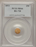California Fractional Gold, 1873 25C Liberty Octagonal 25 Cents, BG-728, R.3, MS66 PCGS....