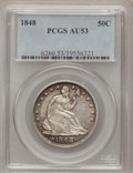 Seated Half Dollars: , 1848 50C AU53 PCGS. PCGS Population (7/42). NGC Census: (2/45).Mintage: 580,000. Numismedia Wsl. Price for problem free NG...