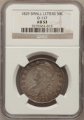 Bust Half Dollars, 1829 50C Small Letters AU53 NGC. O-117. NGC Census: (82/603). PCGSPopulation (77/565). Mintage: 3,712,156. Numismedia Wsl....