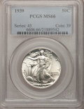 Walking Liberty Half Dollars: , 1939 50C MS66 PCGS. PCGS Population (1037/242). NGC Census:(742/262). Mintage: 6,820,808. Numismedia Wsl. Price for proble...