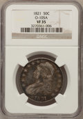 Bust Half Dollars: , 1821 50C VF35 NGC. O-105A. NGC Census: (14/426). PCGS Population(40/482). Mintage: 1,305,797. Numismedia Wsl. Price for pr...