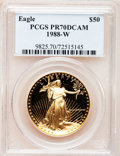 Modern Bullion Coins: , 1988-W G$50 One-Ounce Gold Eagle PR70 Deep Cameo PCGS. PCGSPopulation (191). NGC Census: (865). Mintage: 87,133. Numismedi...