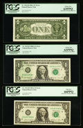 Error Notes:Error Group Lots, Fr. 1912-H $1 1981A Federal Reserve Notes. Two Examples. PCGSChoice New 63PPQ-Gem New 66PPQ; Fr. 1915-B $1 1988A Federal Rese...(Total: 3 notes)
