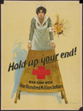 "Movie Posters:War, War Propaganda Poster (Red Cross, 1917). World War I Poster (20.25""X 27.5"") ""Hold Up Your End."" War.. ..."