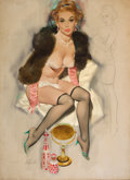 Pin-up and Glamour Art, FRITZ WILLIS (American, 1907-1979). Pin-Up in Lingerie andFur. Oil on canvas laid on board. 29 x 21 in.. Signed lowerl...