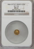 California Fractional Gold: , 1860 25C Liberty Octagonal 25 Cents, BG-730, High R.6, MS62 NGC.NGC Census: (2/1). PCGS Population (5/5). (#10557)...