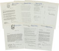 Baseball Collectibles:Others, Bowie Kuhn Signed Documents Lot of 6....
