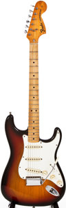 Musical Instruments:Electric Guitars, 1974 Fender Stratocaster Sunburst Solid Body Electric Guitar,#558925....
