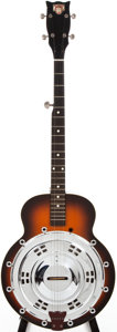 Musical Instruments:Resonator Guitars, 1980s Dobro 5-String Sunburst Resonator Banjo, #DV0018....