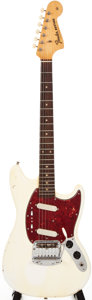 Musical Instruments:Electric Guitars, 1964 Fender Mustang Olympic White Solid Body Electric Guitar,#L33185....