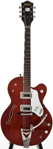 Musical Instruments:Electric Guitars, 1966 Gretsch Tennessean Burgundy Archtop Electric Guitar,#126879....