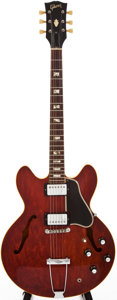 Musical Instruments:Electric Guitars, 1966 Gibson ES-335TDC Cherry Semi-Hollow Body Electric Guitar,#856143....