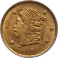 California Fractional Gold: , 1868 25C Liberty Round 25 Cents, BG-806, R.3, MS66 NGC. NGC Census:(16/1). PCGS Population (19/1). (#10667)...
