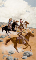 Pulp, Pulp-like, Digests, and Paperback Art, STANLEY BORACK (American, b. 1927). Cowboys on Horseback, storyillustration. Gouache on masonite. 27 x 16.5 in.. Signed...