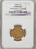 Liberty Half Eagles: , 1848-D $5 --Improperly Cleaned--NGC Details. VF. NGC Census:(3/104). PCGS Population (3/111). Mintage: 47,400. Numismedia W...