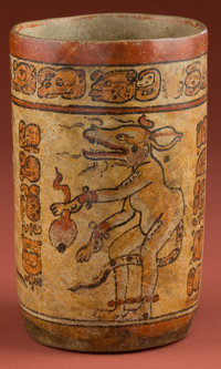 Maya Cylinder with Three Dancing Underworld Deities