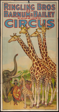 """Circus Poster (Ringling Brothers and Barnum & Bailey, 1940s). Three Sheet (41"""" X 79""""). Miscellaneous..."""