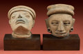 American Indian Art:Pottery, Two Veracruz Head Fragments... (Total: 2 Items)