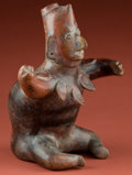 Pre-Columbian:Ceramics, Colima Seated Man with Shell Necklace...