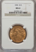 Liberty Eagles: , 1890 $10 MS61 NGC. NGC Census: (119/54). PCGS Population (58/93).Mintage: 57,900. Numismedia Wsl. Price for problem free N...