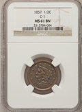 Half Cents: , 1857 1/2 C MS61 Brown NGC. C-1. NGC Census: (20/253). PCGSPopulation (5/158). Mintage: 35,180. Numismedia Wsl. Price for p...