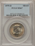 Susan B. Anthony Dollars: , 1979-D SBA$ MS67 PCGS. PCGS Population (107/0). NGC Census: (74/1).Mintage: 288,015,744. Numi...
