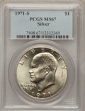 Eisenhower Dollars: , 1971-S $1 Silver MS67 PCGS. PCGS Population (372/2). NGC Census: (71/1). Mintage: 2,600,000. Numismedia Wsl. Price for prob...