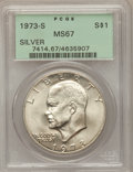 Eisenhower Dollars: , 1973-S $1 Silver MS67 PCGS. PCGS Population (2962/809). NGC Census:(482/97). Mintage: 869,400. Numismedia Wsl. Price for p...