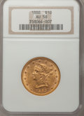 Liberty Eagles: , 1888 $10 AU58 NGC. NGC Census: (126/245). PCGS Population (37/100).Mintage: 132,996. Numismedia Wsl. Price for problem fre...