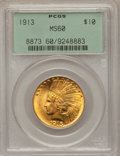 Indian Eagles: , 1913 $10 MS60 PCGS. PCGS Population (90/2912). NGC Census:(103/3941). Mintage: 442,071. Numismedia Wsl. Price for problem ...