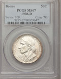 Commemorative Silver: , 1938-D 50C Boone MS67 PCGS. PCGS Population (46/2). NGC Census:(29/4). Mintage: 2,100. Numismedia Wsl. Price for problem f...