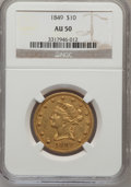 Liberty Eagles: , 1849 $10 AU50 NGC. NGC Census: (98/364). PCGS Population (56/101).Mintage: 653,618. Numismedia Wsl. Price for problem free...