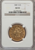 Liberty Eagles: , 1849 $10 AU53 NGC. NGC Census: (101/263). PCGS Population (25/76).Mintage: 653,618. Numismedia Wsl. Price for problem free...