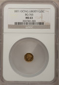 California Fractional Gold: , 1871 25C Liberty Octagonal 25 Cents, BG-765, R.3, MS63 NGC. NGCCensus: (5/5). PCGS Population (68/29). (#10592)...