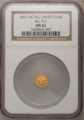 California Fractional Gold: , 1871 25C Liberty Octagonal 25 Cents, BG-767, R.3, MS62 NGC. NGCCensus: (7/6). PCGS Population (71/34). (#10594)...