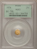 California Fractional Gold: , 1874 25C Indian Octagonal 25 Cents, BG-795, R.3, MS63 PCGS. PCGSPopulation (47/89). NGC Census: (5/6). (#10622)...